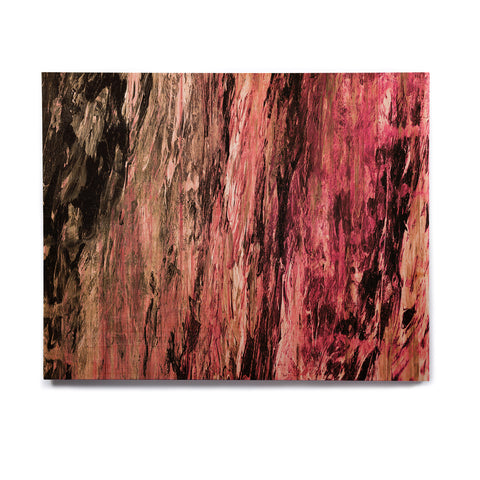 "Ebi Emporium ""RAINBOW BARK 4"" Magenta Coral Abstract Nature Painting Mixed Media Birchwood Wall Art"