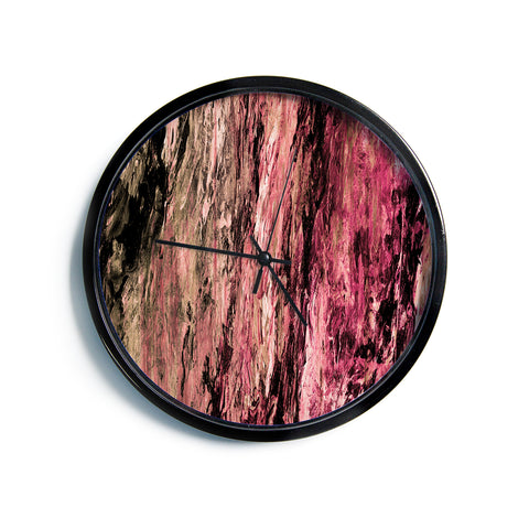 "Ebi Emporium ""RAINBOW BARK 4"" Magenta Coral Abstract Nature Painting Mixed Media Modern Wall Clock"