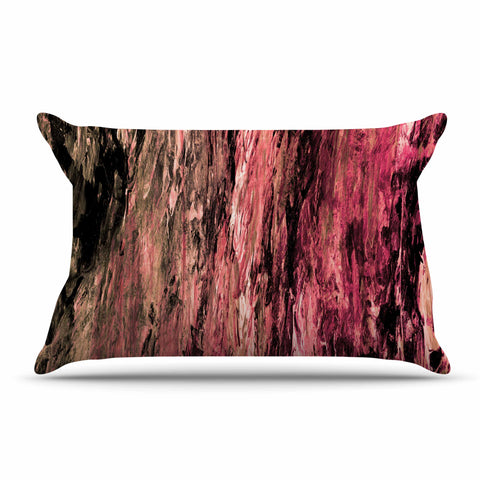 "Ebi Emporium ""RAINBOW BARK 4"" Magenta Coral Abstract Nature Painting Mixed Media Pillow Sham"