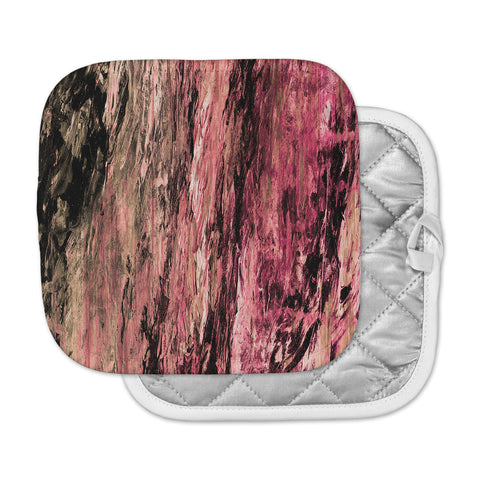 "Ebi Emporium ""RAINBOW BARK 4"" Magenta Coral Abstract Nature Painting Mixed Media Pot Holder"