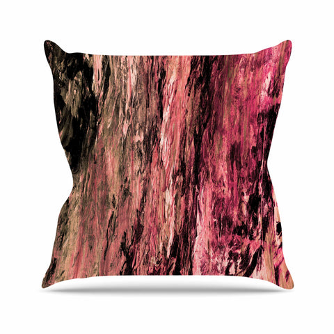 "Ebi Emporium ""RAINBOW BARK 4"" Magenta Coral Abstract Nature Painting Mixed Media Outdoor Throw Pillow"