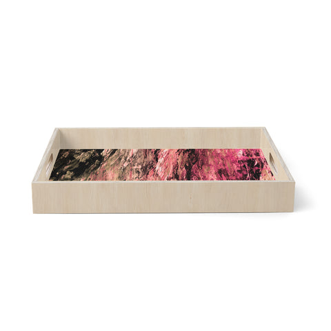 "Ebi Emporium ""RAINBOW BARK 4"" Magenta Coral Abstract Nature Painting Mixed Media Birchwood Tray"