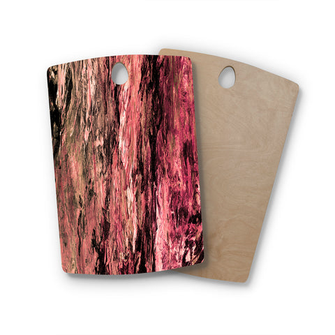 "Ebi Emporium ""RAINBOW BARK 4"" Magenta Coral Abstract Nature Painting Mixed Media Rectangle Wooden Cutting Board"