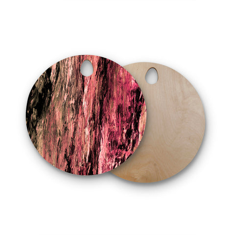 "Ebi Emporium ""RAINBOW BARK 4"" Magenta Coral Abstract Nature Painting Mixed Media Round Wooden Cutting Board"