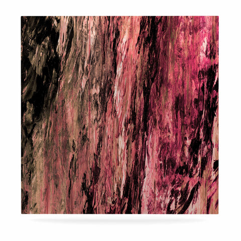 "Ebi Emporium ""RAINBOW BARK 4"" Magenta Coral Abstract Nature Painting Mixed Media Luxe Square Panel"