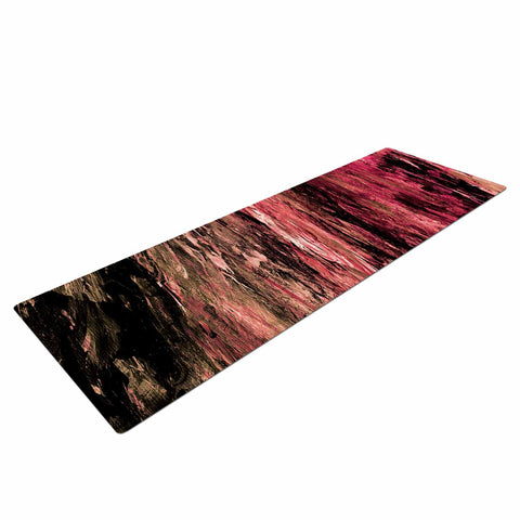 "Ebi Emporium ""RAINBOW BARK 4"" Magenta Coral Abstract Nature Painting Mixed Media Yoga Mat"