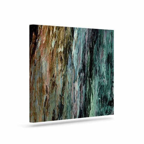 "Ebi Emporium ""RAINBOW BARK 1"" Teal Tan Abstract Nature Painting Mixed Media Art Canvas"