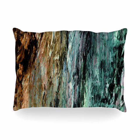 "Ebi Emporium ""RAINBOW BARK 1"" Teal Tan Abstract Nature Painting Mixed Media Oblong Pillow"