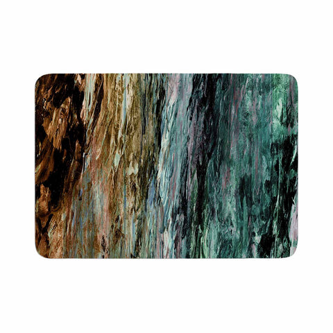 "Ebi Emporium ""RAINBOW BARK 1"" Teal Tan Abstract Nature Painting Mixed Media Memory Foam Bath Mat"