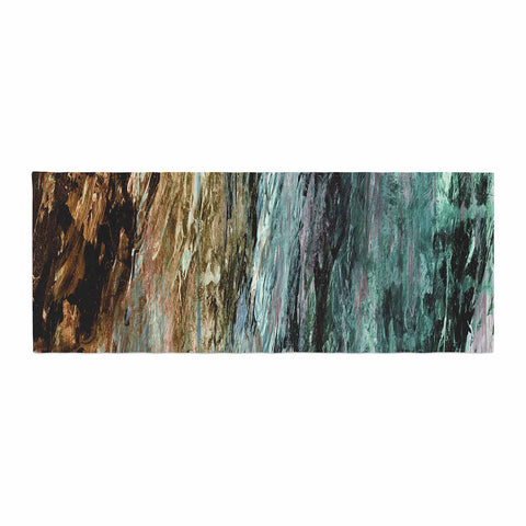 "Ebi Emporium ""RAINBOW BARK 1"" Teal Tan Abstract Nature Painting Mixed Media Bed Runner"