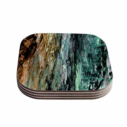 "Ebi Emporium ""RAINBOW BARK 1"" Teal Tan Abstract Nature Painting Mixed Media Coasters (Set of 4)"