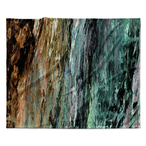 "Ebi Emporium ""RAINBOW BARK 1"" Teal Tan Abstract Nature Painting Mixed Media Fleece Throw Blanket"
