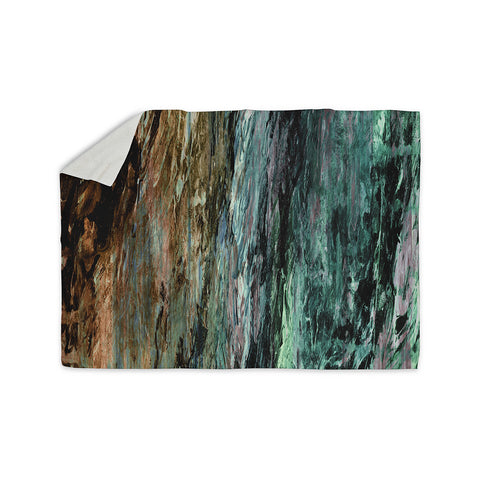 "Ebi Emporium ""RAINBOW BARK 1"" Teal Tan Abstract Nature Painting Mixed Media Sherpa Blanket"
