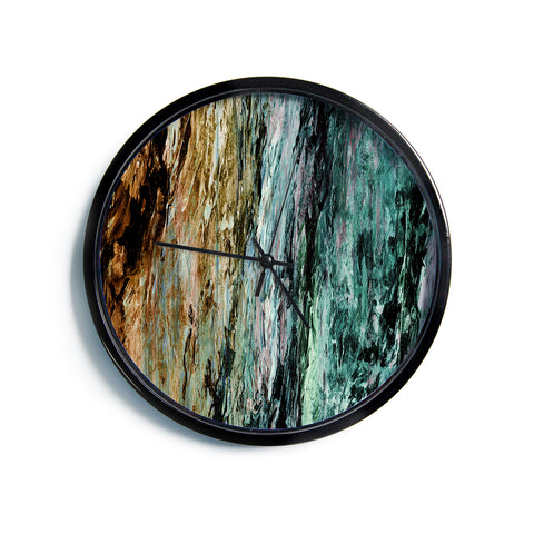 "Ebi Emporium ""RAINBOW BARK 1"" Teal Tan Abstract Nature Painting Mixed Media Modern Wall Clock"