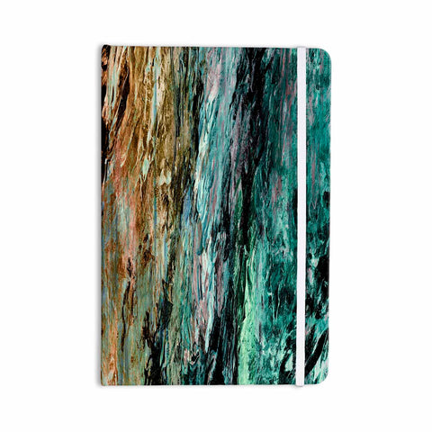 "Ebi Emporium ""RAINBOW BARK 1"" Teal Tan Abstract Nature Painting Mixed Media Everything Notebook"