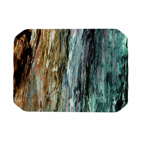 "Ebi Emporium ""RAINBOW BARK 1"" Teal Tan Abstract Nature Painting Mixed Media Place Mat"