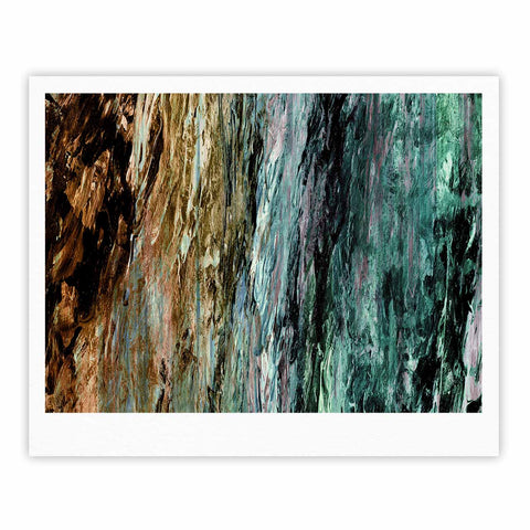 "Ebi Emporium ""RAINBOW BARK 1"" Teal Tan Abstract Nature Painting Mixed Media Fine Art Gallery Print"