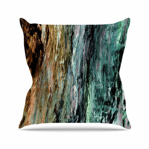 "Ebi Emporium ""RAINBOW BARK 1"" Teal Tan Abstract Nature Painting Mixed Media Outdoor Throw Pillow"
