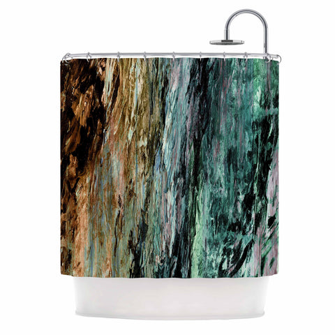"Ebi Emporium ""RAINBOW BARK 1"" Teal Tan Abstract Nature Painting Mixed Media Shower Curtain"