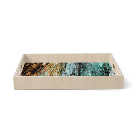 "Ebi Emporium ""RAINBOW BARK 1"" Teal Tan Abstract Nature Painting Mixed Media Birchwood Tray"