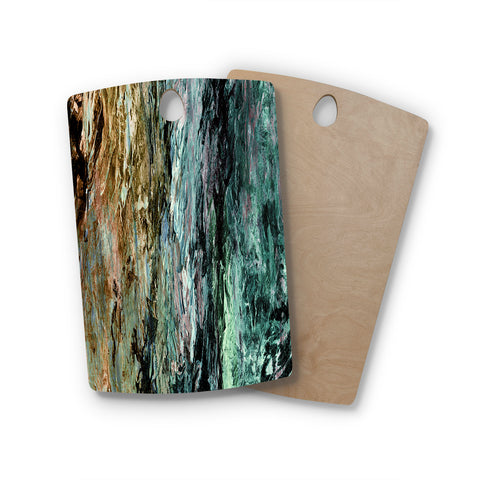 "Ebi Emporium ""RAINBOW BARK 1"" Teal Tan Abstract Nature Painting Mixed Media Rectangle Wooden Cutting Board"