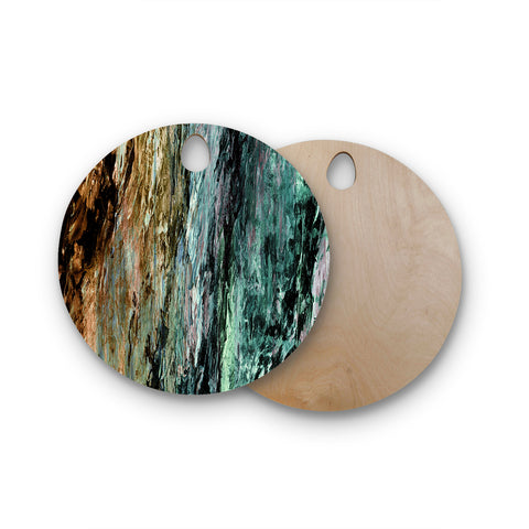 "Ebi Emporium ""RAINBOW BARK 1"" Teal Tan Abstract Nature Painting Mixed Media Round Wooden Cutting Board"