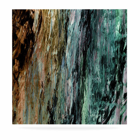 "Ebi Emporium ""RAINBOW BARK 1"" Teal Tan Abstract Nature Painting Mixed Media Luxe Square Panel"