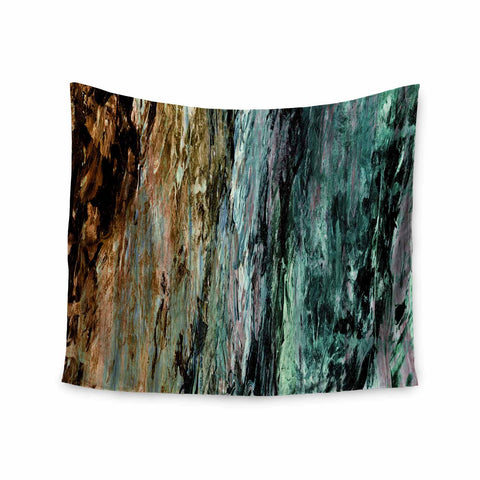 "Ebi Emporium ""RAINBOW BARK 1"" Teal Tan Abstract Nature Painting Mixed Media Wall Tapestry"