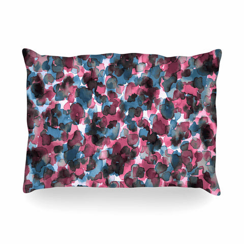 "Ebi Emporium ""WILD THING, PINK BLUE"" Pink Blue Animal Print Abstract Watercolor Mixed Media Oblong Pillow"
