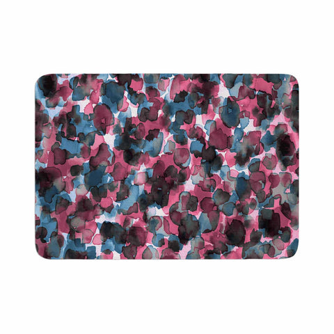 "Ebi Emporium ""WILD THING, PINK BLUE"" Pink Blue Animal Print Abstract Watercolor Mixed Media Memory Foam Bath Mat"