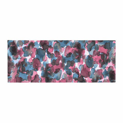 "Ebi Emporium ""WILD THING, PINK BLUE"" Pink Blue Animal Print Abstract Watercolor Mixed Media Bed Runner"