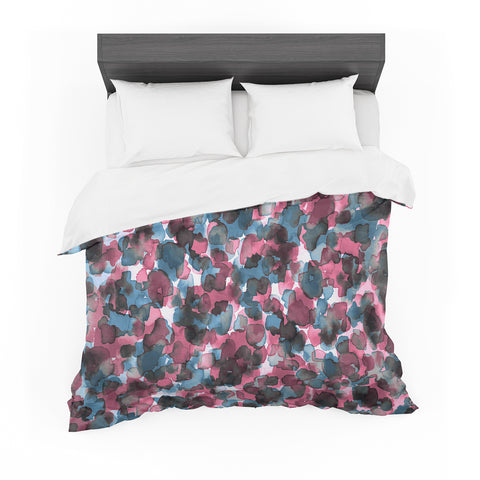 "Ebi Emporium ""WILD THING, PINK BLUE"" Pink Blue Animal Print Abstract Watercolor Mixed Media Featherweight Duvet Cover"