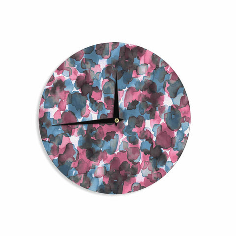 "Ebi Emporium ""WILD THING, PINK BLUE"" Pink Blue Animal Print Abstract Watercolor Mixed Media Wall Clock"