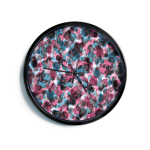 "Ebi Emporium ""WILD THING, PINK BLUE"" Pink Blue Animal Print Abstract Watercolor Mixed Media Modern Wall Clock"