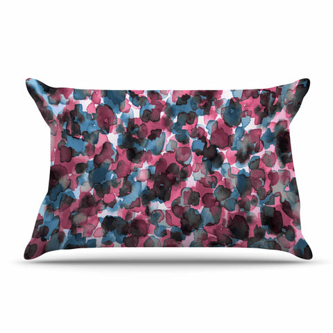 "Ebi Emporium ""WILD THING, PINK BLUE"" Pink Blue Animal Print Abstract Watercolor Mixed Media Pillow Sham"