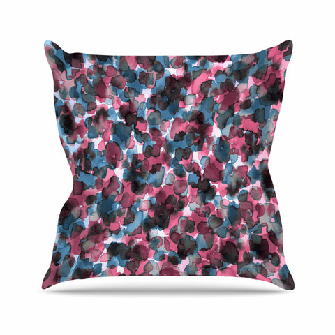 "Ebi Emporium ""WILD THING, PINK BLUE"" Pink Blue Animal Print Abstract Watercolor Mixed Media Throw Pillow"