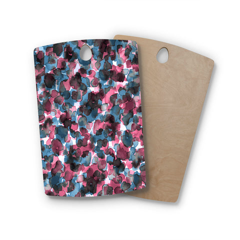 "Ebi Emporium ""WILD THING, PINK BLUE"" Pink Blue Animal Print Abstract Watercolor Mixed Media Rectangle Wooden Cutting Board"