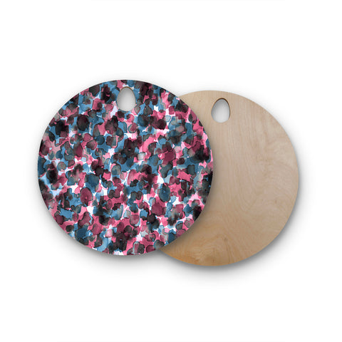 "Ebi Emporium ""WILD THING, PINK BLUE"" Pink Blue Animal Print Abstract Watercolor Mixed Media Round Wooden Cutting Board"