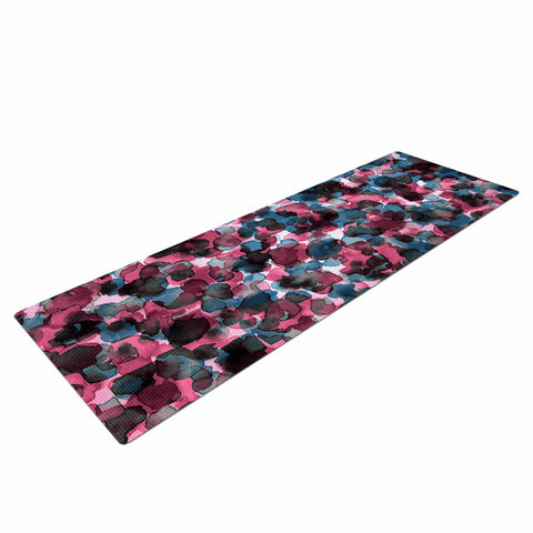 "Ebi Emporium ""WILD THING, PINK BLUE"" Pink Blue Animal Print Abstract Watercolor Mixed Media Yoga Mat"