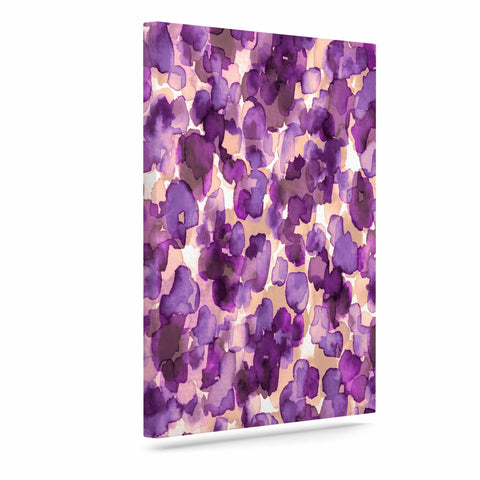 "Ebi Emporium ""WILD THING, PURPLE"" Purple Lavender Animal Print Abstract Watercolor Mixed Media Art Canvas"