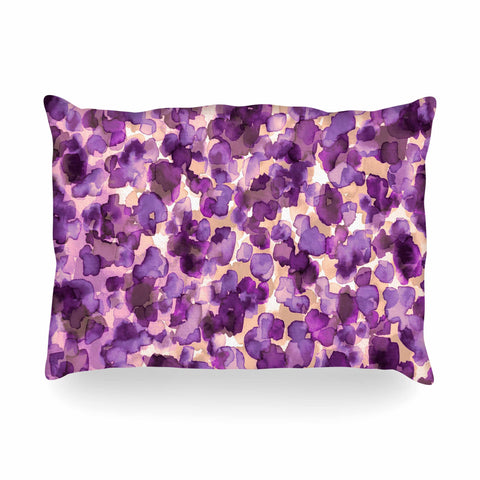 "Ebi Emporium ""WILD THING, PURPLE"" Purple Lavender Animal Print Abstract Watercolor Mixed Media Oblong Pillow"