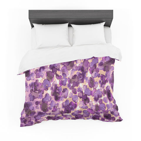 "Ebi Emporium ""WILD THING, PURPLE"" Purple Lavender Animal Print Abstract Watercolor Mixed Media Featherweight Duvet Cover"