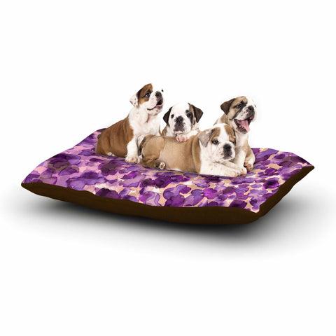 "Ebi Emporium ""WILD THING, PURPLE"" Purple Lavender Animal Print Abstract Watercolor Mixed Media Dog Bed"