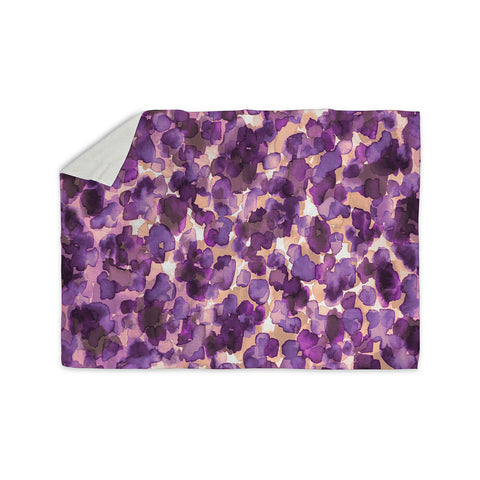 "Ebi Emporium ""WILD THING, PURPLE"" Purple Lavender Animal Print Abstract Watercolor Mixed Media Sherpa Blanket"