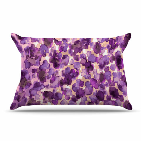 "Ebi Emporium ""WILD THING, PURPLE"" Purple Lavender Animal Print Abstract Watercolor Mixed Media Pillow Sham"