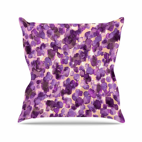 "Ebi Emporium ""WILD THING, PURPLE"" Purple Lavender Animal Print Abstract Watercolor Mixed Media Outdoor Throw Pillow"