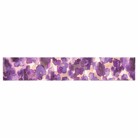 "Ebi Emporium ""WILD THING, PURPLE"" Purple Lavender Animal Print Abstract Watercolor Mixed Media Table Runner"