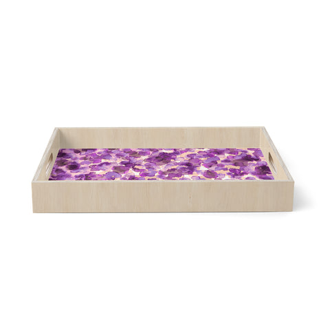 "Ebi Emporium ""WILD THING, PURPLE"" Purple Lavender Animal Print Abstract Watercolor Mixed Media Birchwood Tray"
