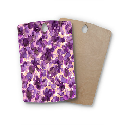 "Ebi Emporium ""WILD THING, PURPLE"" Purple Lavender Animal Print Abstract Watercolor Mixed Media Rectangle Wooden Cutting Board"