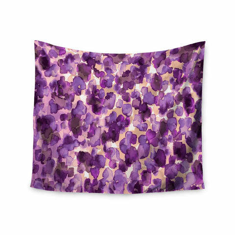 "Ebi Emporium ""WILD THING, PURPLE"" Purple Lavender Animal Print Abstract Watercolor Mixed Media Wall Tapestry"